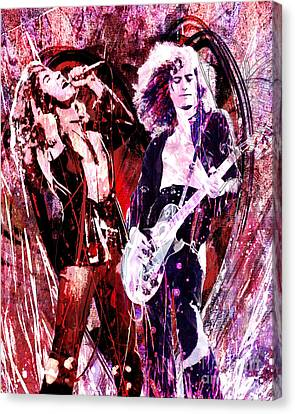 Led Zeppelin - Jimmy Page And Robert Plant Canvas Print by Ryan Rock Artist