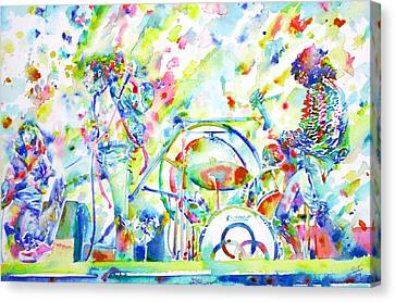 Led Zeppelin Live Concert - Watercolor Painting Canvas Print by Fabrizio Cassetta