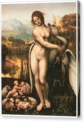 Leda And The Swan Canvas Print by Cesare Da Sesto