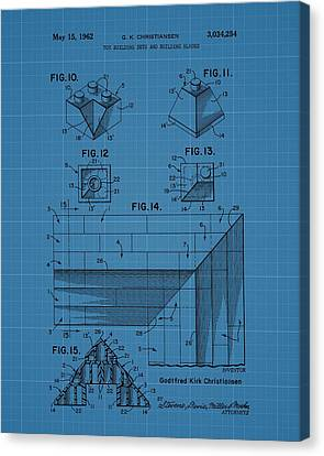 Lego Blocks Patent Drawing Canvas Print by Dan Sproul