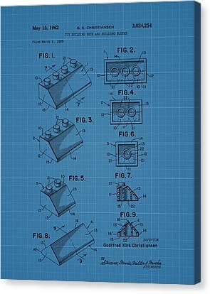 Lego Building Blocks Blueprint Patent Canvas Print by Dan Sproul