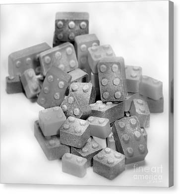 Lego Candy Blocks In Black And White Canvas Print by Iris Richardson