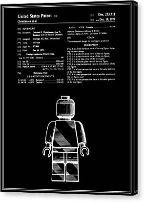 Lego Man Patent - Black - Version One Canvas Print by Finlay McNevin