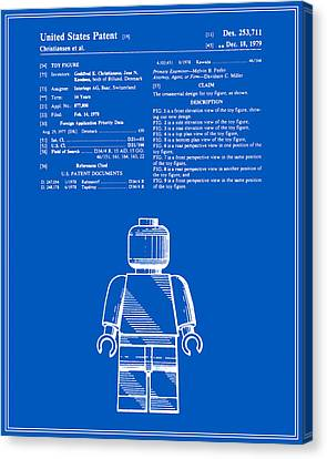 Lego Man Patent - Blueprint - Version One Canvas Print by Finlay McNevin