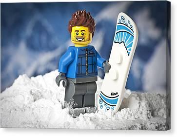 Lego Snowboarder Canvas Print by Samuel Whitton