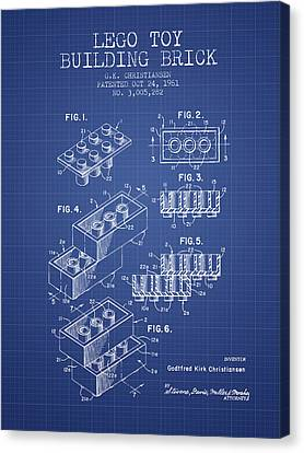 Lego Toy Building Brick Patent From 1961 - Blueprint Canvas Print by Aged Pixel