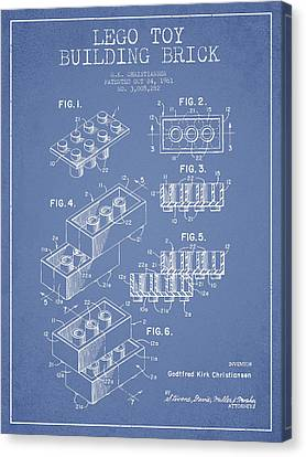 Lego Toy Building Brick Patent - Light Blue Canvas Print by Aged Pixel
