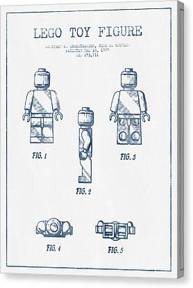 Lego Toy Figure Patent - Blue Ink Canvas Print by Aged Pixel