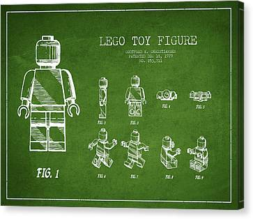 Lego Toy Figure Patent Drawing From 1979 - Green Canvas Print by Aged Pixel