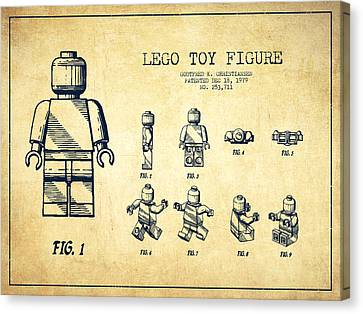 Lego Toy Figure Patent Drawing From 1979 - Vintage Canvas Print by Aged Pixel