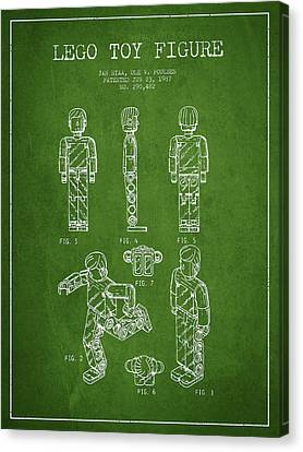 Lego Toy Figure Patent - Green Canvas Print by Aged Pixel