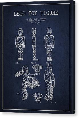 Lego Toy Figure Patent - Navy Blue Canvas Print by Aged Pixel
