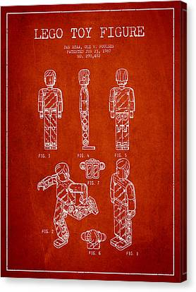 Lego Toy Figure Patent - Red Canvas Print by Aged Pixel