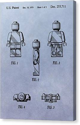 Lego Toy Patent Canvas Print by Dan Sproul