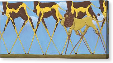 Whimsical Giraffe Painting  Canvas Print by Christy Beckwith