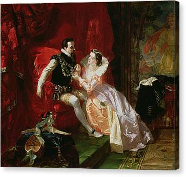 Leicester And Amy Robsart At Cumnor Canvas Print by Edward Matthew Ward