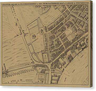 Leicester Square And Its Surroundings In 1658 Canvas Print by English School