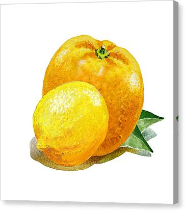 Lemon And Orange Happy Couple Canvas Print by Irina Sztukowski