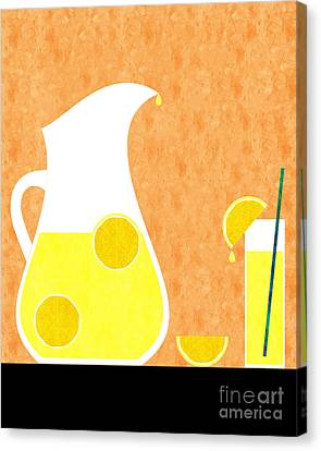 Lemonade And Glass Orange Canvas Print by Andee Design