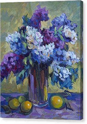 Lemons And Lilacs Canvas Print by Diane McClary