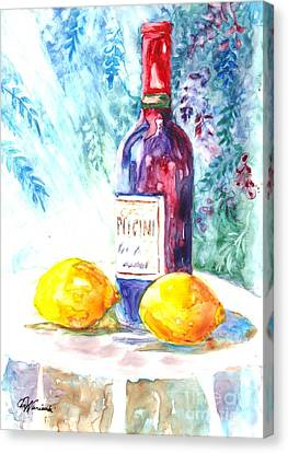 Lemons And Wine And A Little Sunshine Canvas Print by Carol Wisniewski