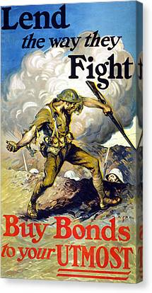Lend The Way They Fight, 1918 Canvas Print by Edmund Ashe