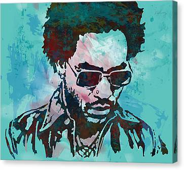 Lenny Kravitz - Stylised Etching Pop Art Poster Canvas Print by Kim Wang