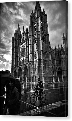 Leon Cathedral In The Rain Canvas Print by Tom Bell