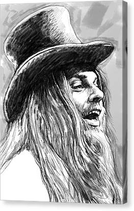 Leon Russell Art Drawing Sketch Portrait Canvas Print by Kim Wang