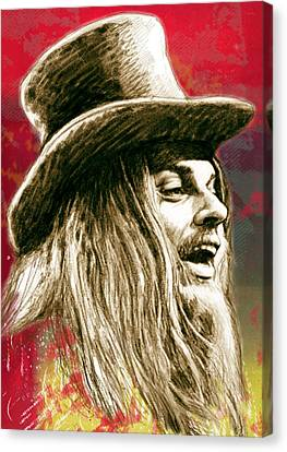 Leon Russell - Stylised Drawing Art Poster Canvas Print by Kim Wang