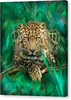 Leopard - Spirit Of Empowerment Canvas Print by Carol Cavalaris