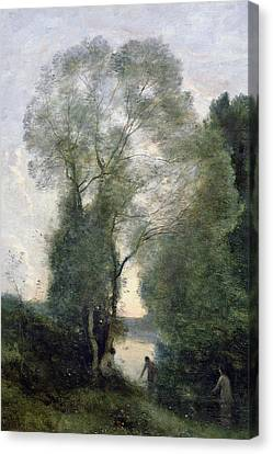 Les Baigneuses Canvas Print by Jean Baptiste Camille Corot