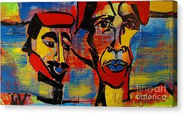 Les Gens A La Lac Three Canvas Print by Grace Liberator