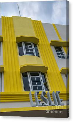 Leslie Hotel South Beach Miami Art Deco Detail 2 Canvas Print by Ian Monk