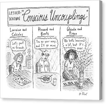 Lesser-known 'conscious Uncouplings Three Panels Canvas Print by Roz Chast