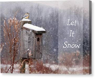 Let It Snow - Bluebirds Canvas Print by Lori Deiter
