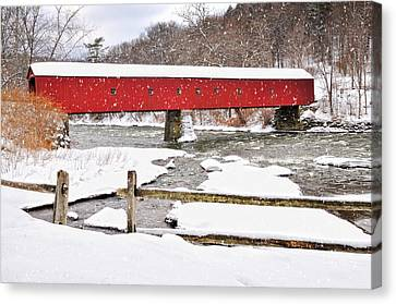 Connecticut Covered Bridge Snow Scene By Thomasschoeller.photography  Canvas Print by Thomas Schoeller