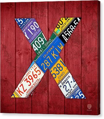 Letter X Alphabet Vintage License Plate Art Canvas Print by Design Turnpike