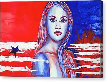 Liberty American Girl Canvas Print by Anna Ruzsan