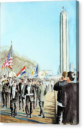 Liberty Memorial Kc Veterans Day 2001 Canvas Print by Carolyn Coffey Wallace