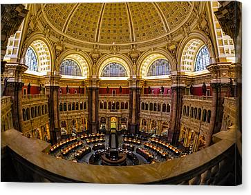 Library Of Congress Main Reading Room Canvas Print by Susan Candelario