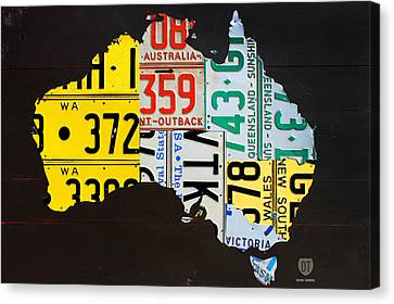 License Plate Map Of Australia Canvas Print by Design Turnpike