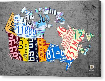 License Plate Map Of Canada On Gray Canvas Print by Design Turnpike