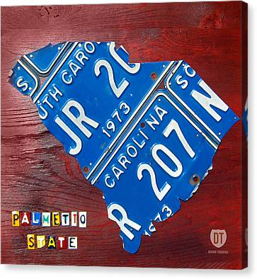 License Plate Map Of South Carolina By Design Turnpike Canvas Print by Design Turnpike