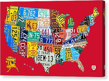 License Plate Map Of The United States On Bright Red Canvas Print by Design Turnpike