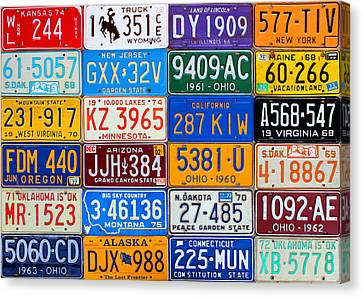 License Plates Of The Usa - Our Colorful American History Canvas Print by Design Turnpike