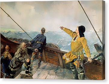 Lief Eirikson Discovering America Canvas Print by Mountain Dreams