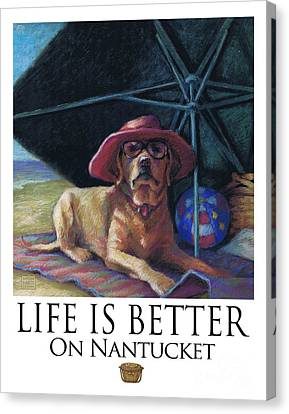 Life Is Better On Nantucket Yellow Lab Canvas Print by Kathleen Harte Gilsenan