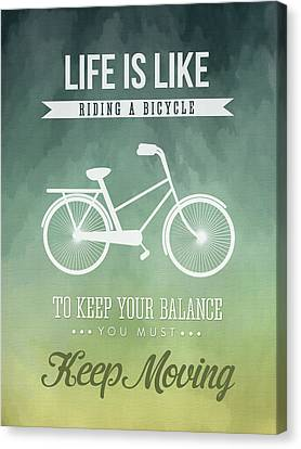 Life Is Like Riding A Bicyle Canvas Print by Aged Pixel