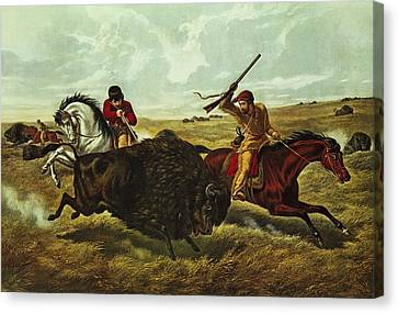 Life On The Prairie Canvas Print by Currier and Ives